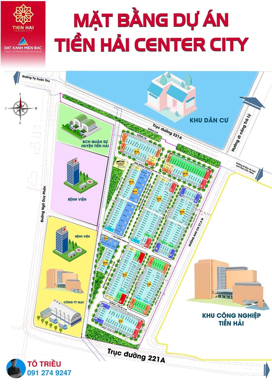 Mặt bằng và sơ đồ quy hoạch Tien Hai City Center – Trái Diêm 3