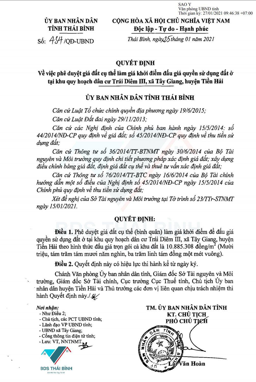 Quyết định 434/QĐ-UNBD Tỉnh Thái Bình phê duyệt giá khởi điểm bán đấu giá Trái Diêm III