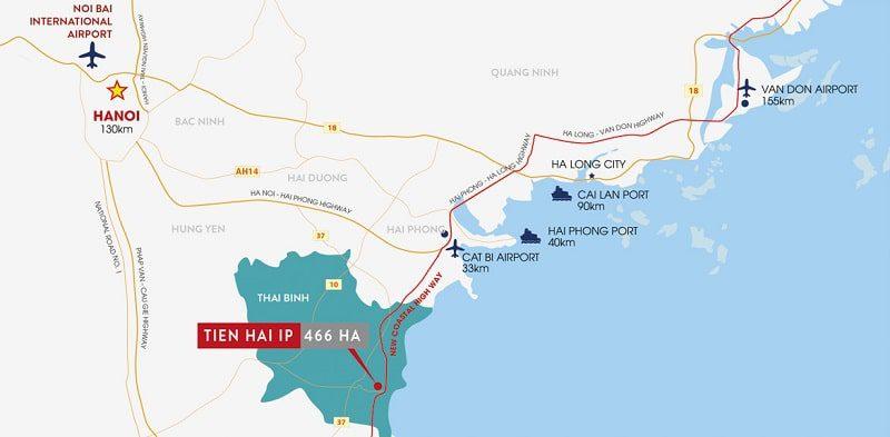Vị trí khu công nghiệp Tiền Hải – Thái Bình