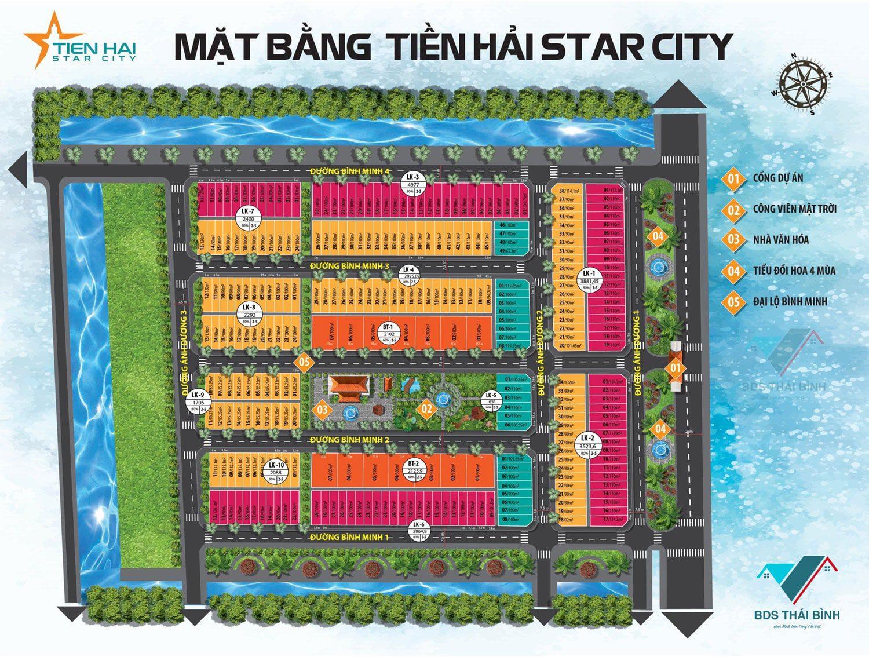 Mặt bằng phân lô dự án đất nền Bắc Đồng Đầm - KDT Tiền Hải Star City