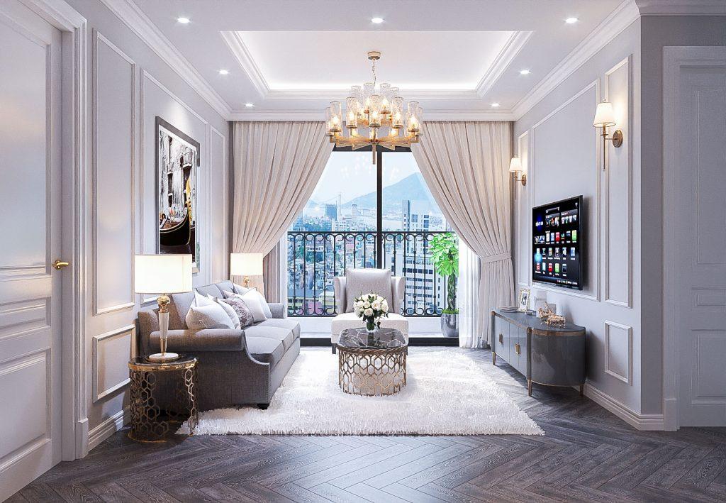 Kiến trúc phòng khách căn hộ 3 phòng ngủ Chung cư lê Lợi Eden Garden Thái Bình