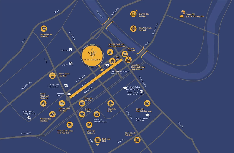 Vị trí dự án Eden Garden Thái Bình và kết nối giao thông